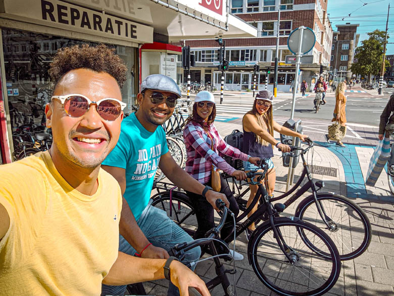 group of friends on bicycles