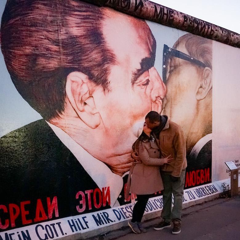 berlin wall famous kiss graffiti