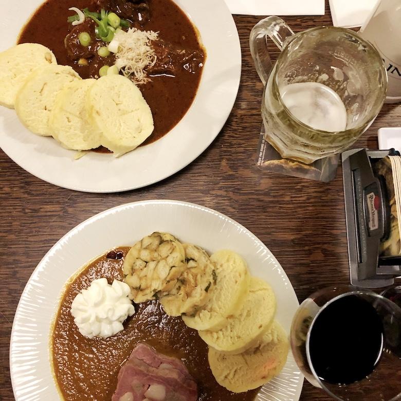 beef goulash is a traditional and authentic czech dish to try in prague