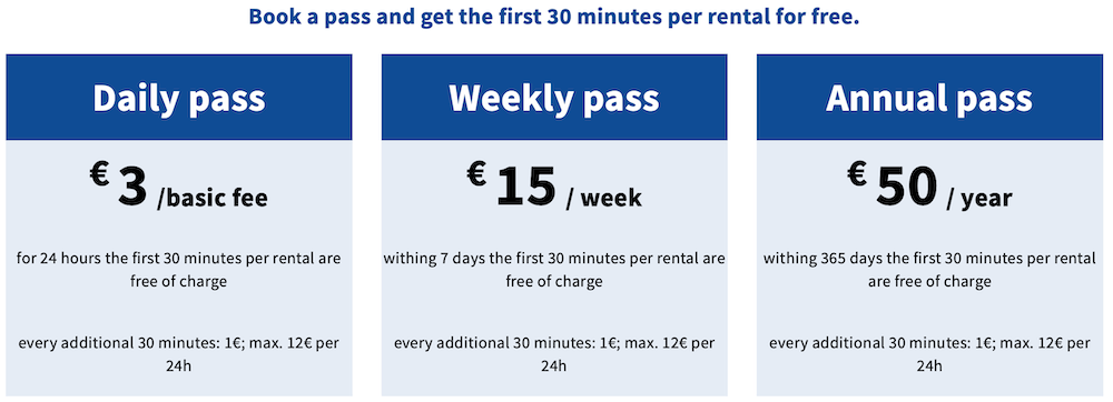 price and costs for nextbike in berlin daily weekly and annual pass