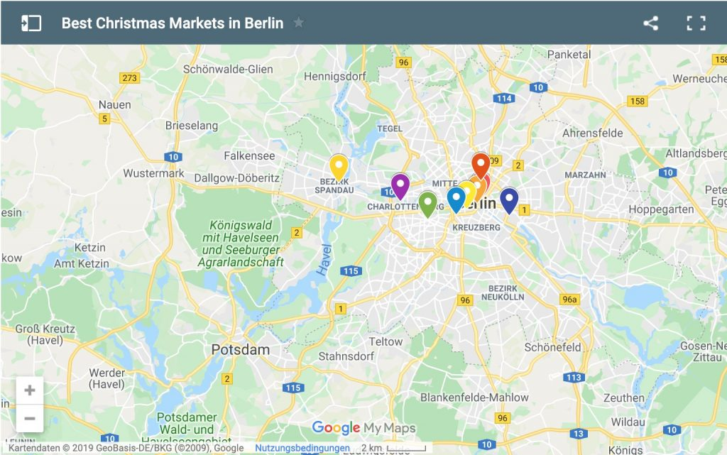 google map of the best christmas markets in berlin for 2019 and 2020