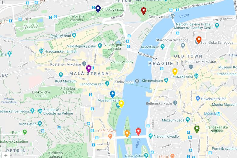 google map for a self walking tour to explore the free things to do in prague