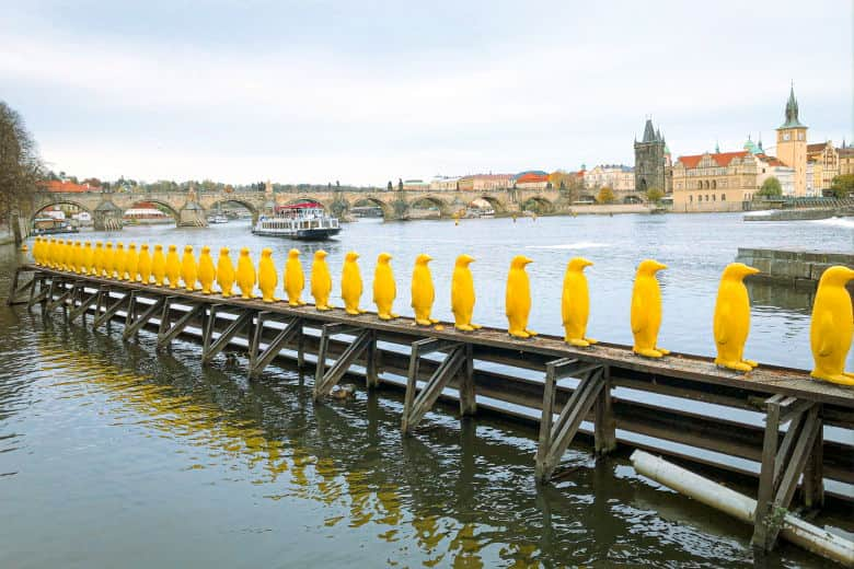 the yellow penguins art installation is a must see attraction in prague