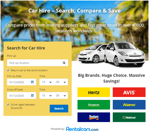 Rentalcars search form to find the cheapest car rental for Mozambique