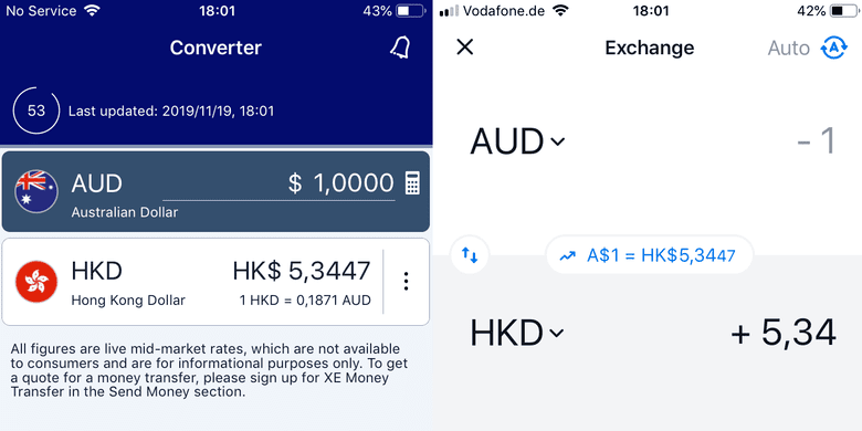 comparison between Revolut exchange rate and XE Currency