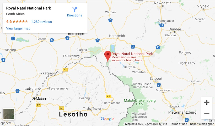 google map of where royal natal national park is located in drakensberg mountains