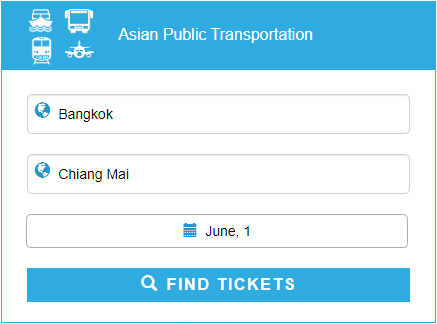 12 Go Asia search form to find the cheapest Southeast Asia public transportation