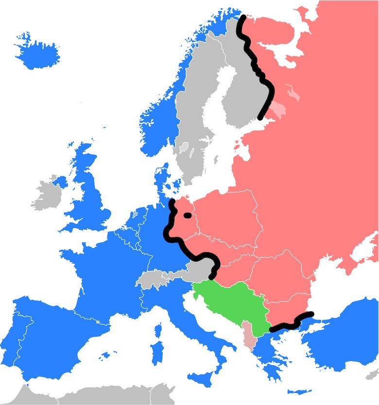 map from wikimedia commons showing where the iron curtain divided europe into eastern and western europe