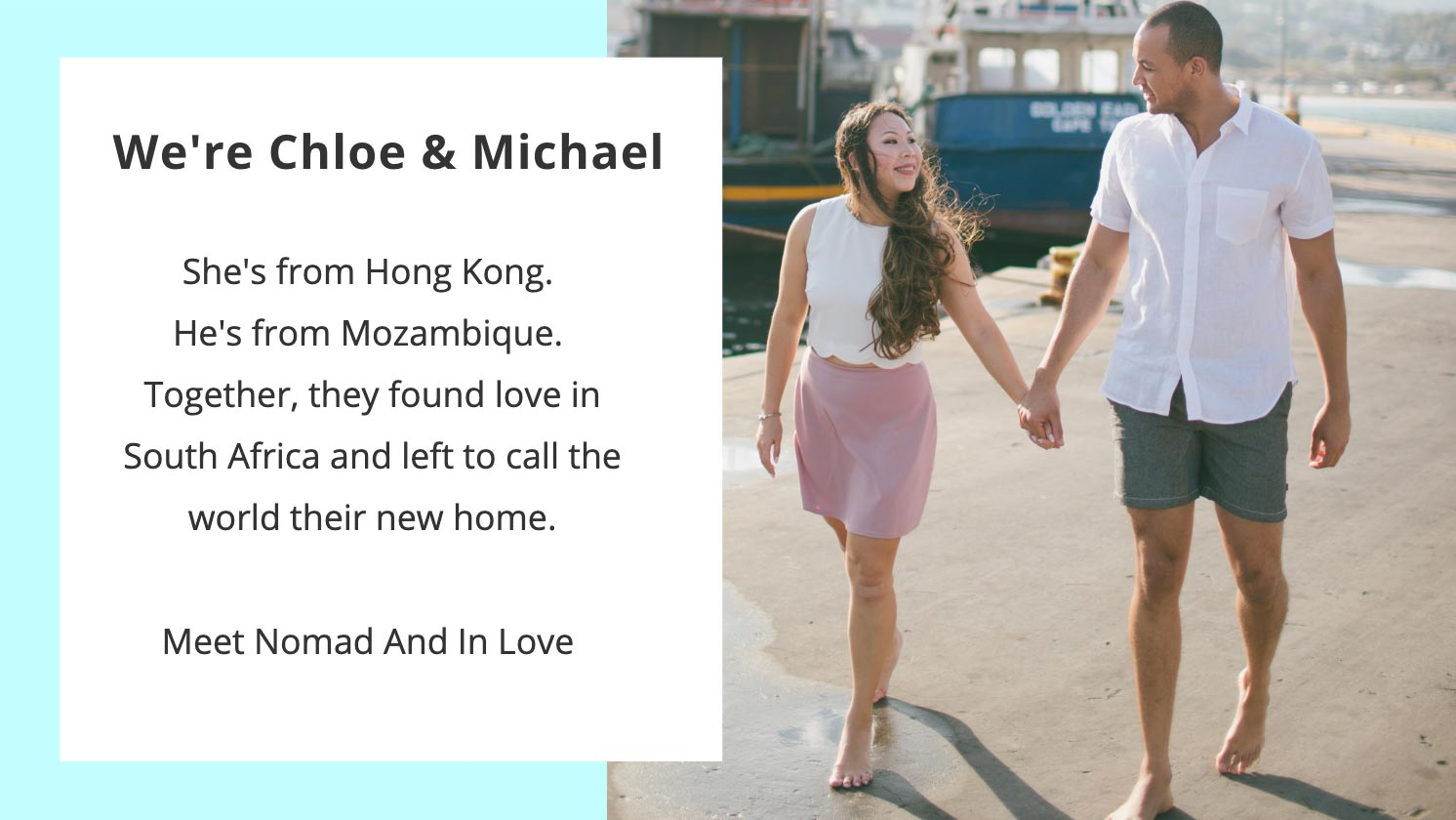introduction of chloe and michael from nomadandinlove adventure travel blog